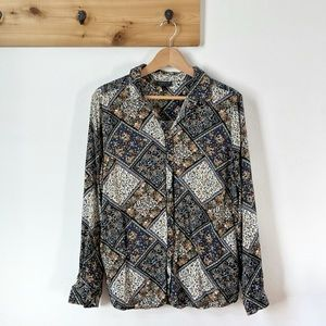 Topshop 70's Style Paisley Button Down Top Size 12